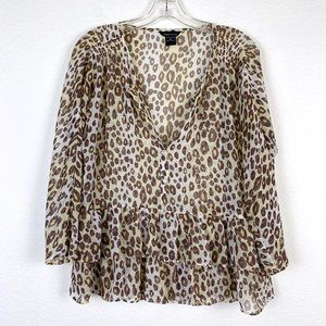 Cheetah Animal Printed Peplum Blouse Top Medium